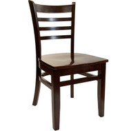 BFM Seating Burlington Walnut Wood Ladder Back Restaurant Chair [WC101WAWAW]