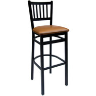 BFM Seating Troy Black Metal Slat Back Restaurant Bar Stool with Vinyl Seat [2090BV-SB-BFMS]