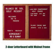 Ghent 36x60-inch Enclosed Burgundy Letter Board - Walnut Frame [PN23660B-BG]
