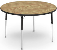 Virco Quick Ship 4000 Series Adjustable Height Round Activity Table with Laminate Top and Char Black Frame- 48'' Diameter x 22''H - 30''H [4848R]