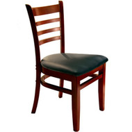 BFM Seating Burlington Mahogany Wood Ladder Back Chair with Vinyl Seat [WC101MH-X-BFMS]