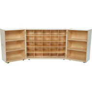 Wood Designs 3-Section Tri-Fold Cubby Storage Unit - 25 Tray Storage [25509-WDD]
