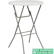 Advantage 32 in. Round Bar Height White Plastic Folding Table [ADV-32RLZ-BAR-WHITE]