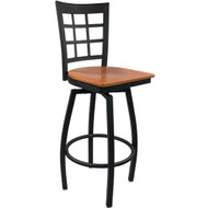Advantage Window Pane Back Metal Swivel Bar Stool - Cherry Wood Seat [SBWPB-BFCW]