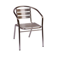 BFM Seating Parma Aluminum Outdoor Restaurant Arm Chair [MS0021-BFMS]