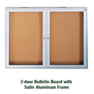 Ghent 48x60-inch Enclosed Cork Bulletin Board - Satin Aluminum Frame [PA24860K]