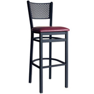 BFM Seating Polk Black Metal Perforated Back Bar Stool with Vinyl Seat [2161B-SBV]