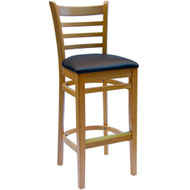 BFM Seating Burlington Natural Wood Ladder Back Bar Stool with Vinyl Seat [WB101NT-X-BFMS]