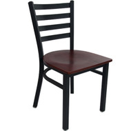 Advantage Black Metal Ladder Back Chair - Mahogany Wood Seat [RCLB-BFMW]