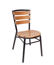 BFM Seating Norden Outdoor Stacking Side Chair with Synthetic Teak Slats and Black Frame [MS308STKBL-BFMS]