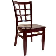 BFM Seating Pennington Mahogany Window Pane Restaurant Chair [WC629MH-BFMS]