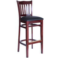 BFM Seating Princeton Mahogany Wood School Back Restaurant Bar Stool [WB7218MHV]