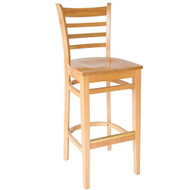 BFM Seating Burlington Natural Wood Ladder Back Bar Stool [WB101NT-BFMS]