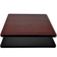 """Advantage 24""""x24"""" Restaurant Table Top - Black / Mahogany Reversible [CT2424-BMBLK]"""