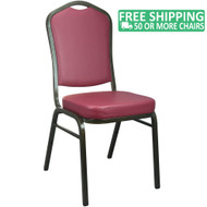 Advantage Burgundy Vinyl Crown Back Banquet Chair [CBBC-V-105]