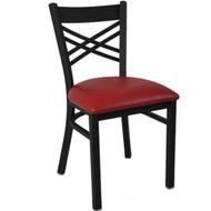 BFM Seating Akrin Black Metal Cross Back Restaurant Chair with Vinyl Seat [2130C-SBV]