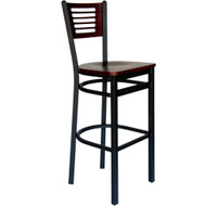 BFM Seating Espy Black Metal Slotted Wood Back Bar Stool with Wood Seat [2151BW-SB-BFMS]