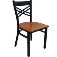 Advantage Black Metal Cross Back Chair - Cherry Wood Seat [RCXB-BFCW]