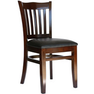 BFM Seating Princeton Walnut Wood School Back Chair with Vinyl Seat [WC7218WABLV-BFMS]