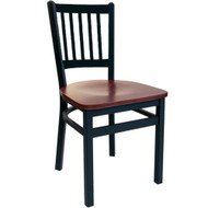 BFM Seating Troy Black Metal Slat Back Restaurant Chair [2090C-SBW]