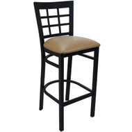 Advantage Window Pane Back Metal Bar Stool - Beige Padded [BSWPB-BFBGV]