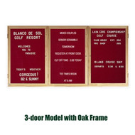 Ghent 48x96-inch Enclosed Burgundy Letter Board - Oak Frame [PW34896B-BG]
