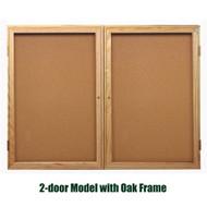 Ghent 36x60-inch Enclosed Cork Bulletin Board - Oak Frame [PW23660K]