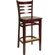 BFM Seating Burlington Mahogany Ladder Back Restaurant Bar Stool [WB101MH-BFMS]