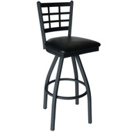 BFM Seating Marietta Metal Window Pane Swivel Bar Stool with Vinyl Seat [2163S-SBV]