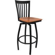 Advantage Vertical Slat Back Metal Swivel Bar Stool - Cherry Wood Seat [SBVB-BFCW]