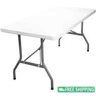 5-pack Advantage 8 ft. Rectangular White Plastic Folding Tables [ADV3096-WHITE-05]