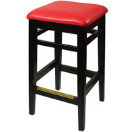 BFM Seating Trevor Wood Backless Restaurant Bar Stool with Vinyl Seat [LWB680]