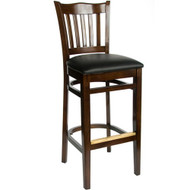 BFM Seating Princeton Walnut Wood School Back Restaurant Bar Stool [WB7218WAV]