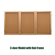Ghent 48x96-inch Enclosed Cork Bulletin Board - Oak Frame [PW34896K]