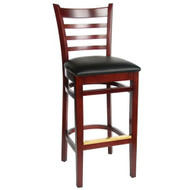 BFM Seating Burlington Mahogany Wood Ladder Back Bar Stool with Vinyl Seat [WB101MH-X-BFMS]