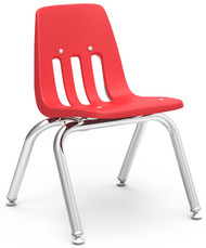 Virco 9000 Series Classroom Stack Chair with 12''H Seat and Chrome Frame [9012] - 4 Pack