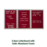 Ghent 48x72-inch Enclosed Burgundy Letter Board - Satin Aluminum Frame [PA34872B-BG]
