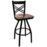 BFM Seating Akrin Black Metal Cross Back Restaurant Swivel Bar Stool with Wood Seat [2130S-SBW]