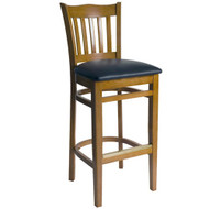 BFM Seating Princeton Honey Oak School Back Restaurant Bar Stool [WB7218HOV]