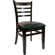 BFM Seating Burlington Walnut Wood Ladder Back Chair with Vinyl Seat [WC101WA-X-BFMS]