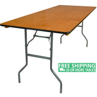 Advantage 6 ft. Wood Folding Banquet Table - 30x72 [FTPW-3072]