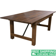 Advantage Barn Wood Brown Farmhouse Table - 40 in. x 84 in. [FTFL-4084-BA]