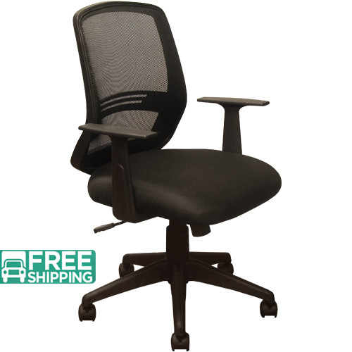 Black Mesh Office Chairs KB-2012-BLK | Contoured Black Seat