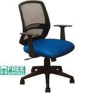 Black Mesh Office Chairs KB-2012-BLUE | Contoured Blue Seat