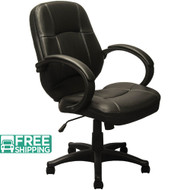 Mid-back Black Leather Executive Office Chairs [KB-9611B] | Swivel Chairs