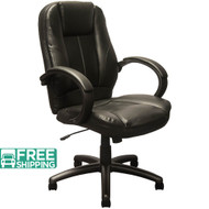 Extended Mid-back Black Leather Executive Office Chairs [KB-9602B] | Swivel Chairs