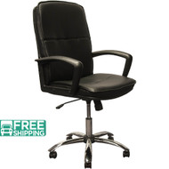 High Back Black Leather Executive Chairs With Chrome Base KB-3003 | Swivel Chairs