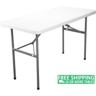 Advantage 4 ft. Rectangular White Plastic Folding Table [ADV2448-WHITE]