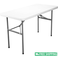 10-pack Advantage 4 ft. White Rectangular Plastic Folding Tables [ADV2448-WHITE-10]
