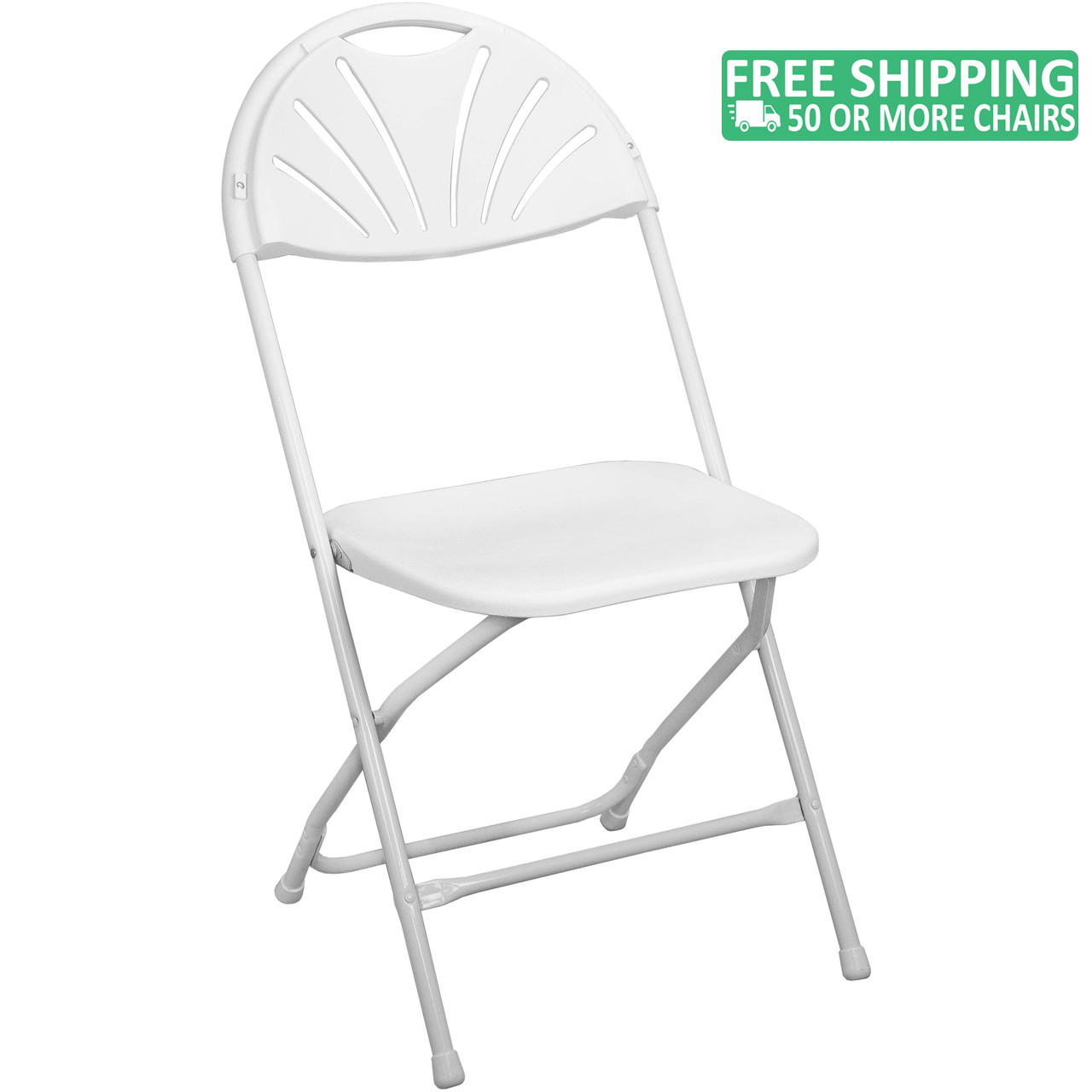 Lightweight White Fan Back Plastic Folding Chairs Foldable Chairs
